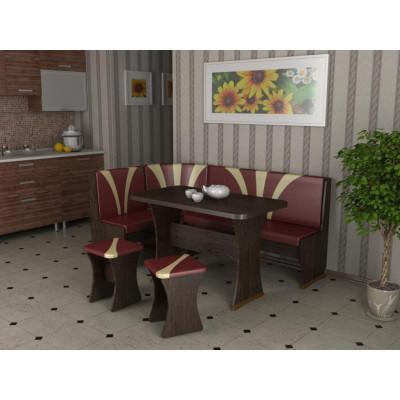 Кухонный уголок Титул-2 (Дуб венге, К/з: Бордо/Какао (тюльпан))